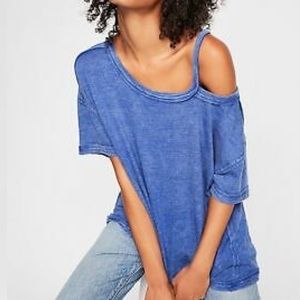 Free People Alex Cut Out Tee Blue LagoonT-Shirt XS